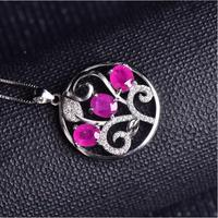 Ruby necklace pendant Origin and natural ruby 925 sterling silver For men or women jewelry 5*6mm 3pcs
