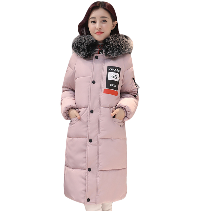 2017 Long Parkas Women Winter Large Fur Collar Jacket Female Warm Outwear Thick Padded Cotton Jacket Coat Women Clothing CM1580