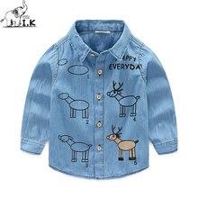 I.K Boy Demin Jeans Blue Shirts Long Sleeves Turn Down Collar 2017 Fashion Children Baby Kids Cartoon Printing Moose Tops LS1007