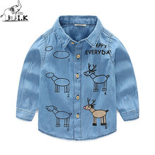 I.Okay Boy Demin Jeans Blue Shirts Long Sleeves Turn Down Collar 2017 Fashion Children Baby Kids Cartoon Printing Moose Tops LS1007