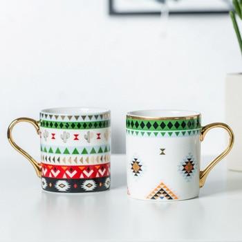 Luxury Gold Totems Mosaic Geometric Flamingo Ceramic Coffee Mug Coffee Cup Gold Breakfast Milk Water Cup Couple Creative Gifts