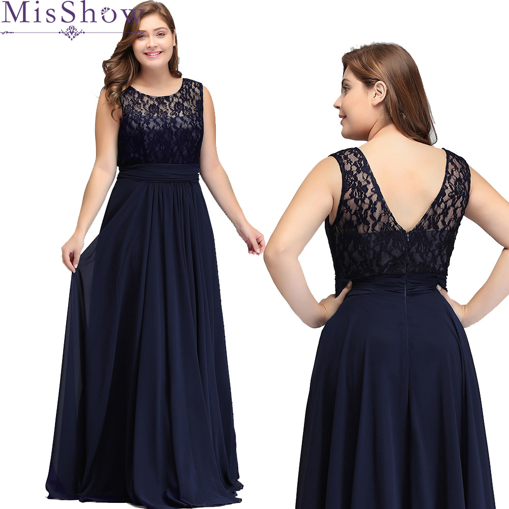 Women's Elegant Long Mother Of The Bride Dresses 2019 MisShow Cheap Navy Blue Grey Lace Floor-Length Plus Size Mother Dresses