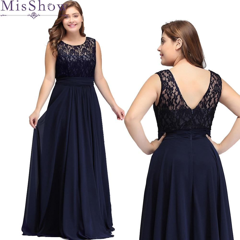 Women's Elegant Long Mother Of The Bride Dresses 2019 MisShow Cheap Navy Blue Grey Lace Floor-Length Plus Size Mother Dresses