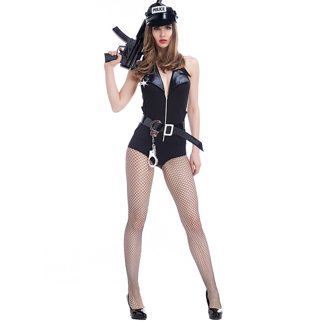 femme sexy cop police polici re cosplay court salopette halloween cosplay costume en cuir verni. Black Bedroom Furniture Sets. Home Design Ideas