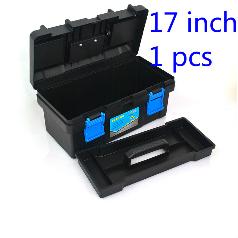 1 Pcs 17 Inch Black Plastic Tool Box Multifunctional Household Maintenance Tool Box Reinforced Vehicle Mounted Storage Box