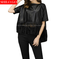 SHILO GO New Fashion Street Women's O Neck Batwing short sleeve Sheepskin Genuine Leather short blouse Ladies Concise blouse