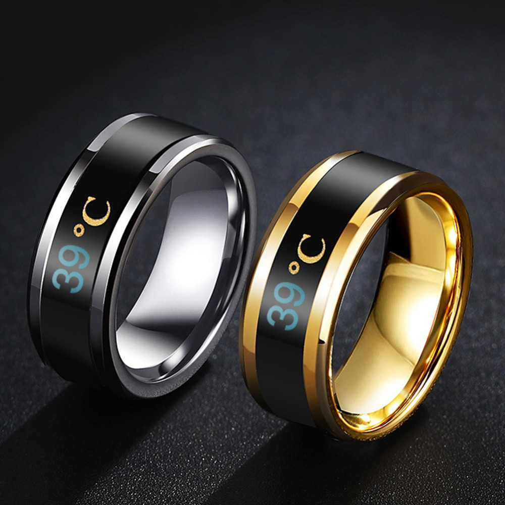 Multifunctional Waterproof Temperature Sense Intelligent Smart Ring Finger Wear Changing Color Temperature Ring #290463