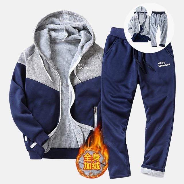 Autumn Tracksuit Men Warm Fleece Hooded Sweatshirts Winter Thick Hoodies Man Fashion Inner Fleece 2PC Pant Male chandal hombre