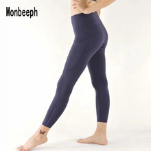 Monbeeph print leggings high waist Ankle-Length Pants 7/8 capris Pencil skinny