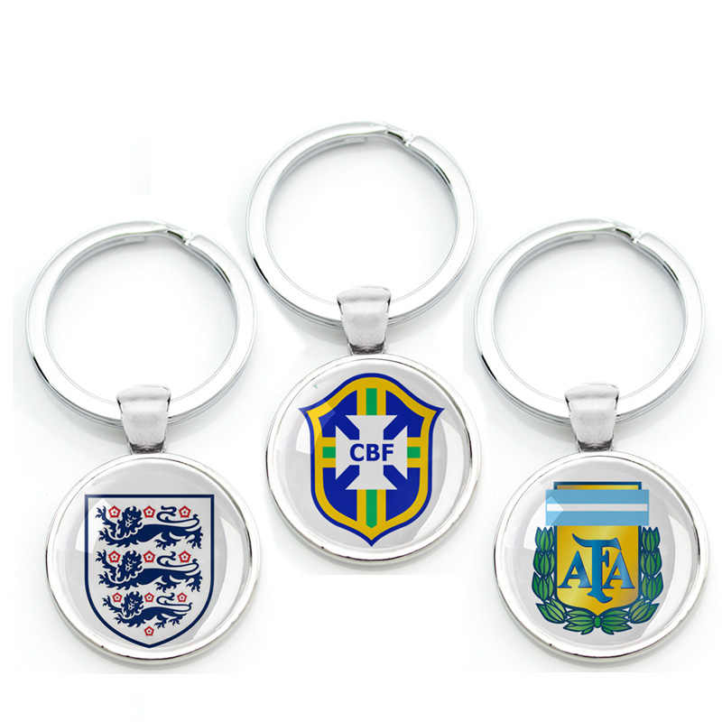 National Football Team LOGO Key Chain Soccer Club Key Ring Sport Leagues Holder Badge Sign For Messi Fans World Cup Key Finder