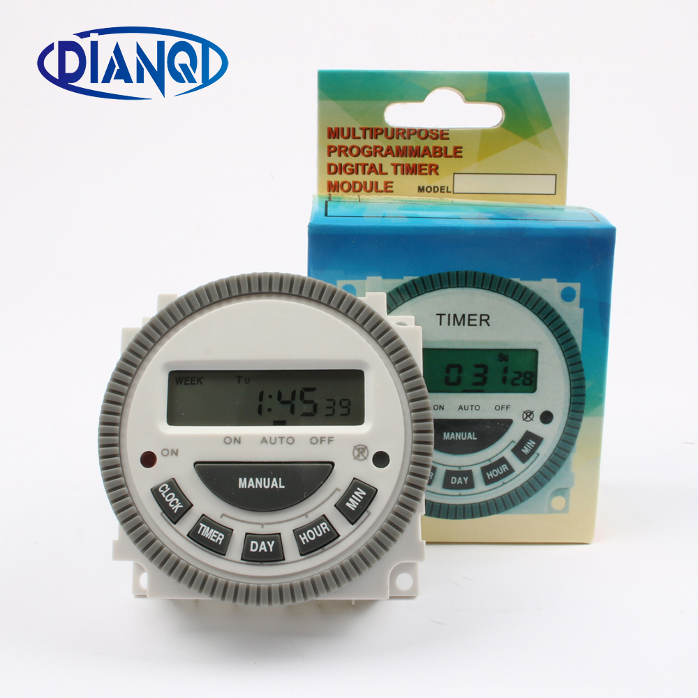 цена на DIANQI TM619 220V 230V 240V 16A Digital Timer controller 7 Days Weekly Programmable Timer switch Hour Minute Count cn304