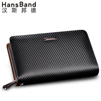 HansBand New Men Wallet Genuine Leather Bag Fashion Handbags Double Zipper Men Clutch Bags Brand Hand Bag Luxury Business wallet
