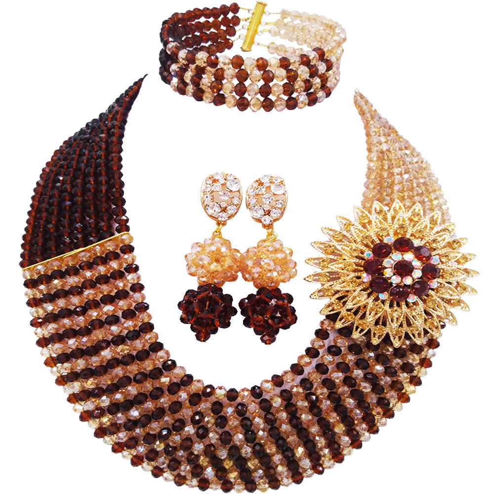 Lovely Brown and Champagne Gold AB Crystal Necklace Sets Nigerian Wedding African Beads Jewelry Set for Women 8JBK05Lovely Brown and Champagne Gold AB Crystal Necklace Sets Nigerian Wedding African Beads Jewelry Set for Women 8JBK05