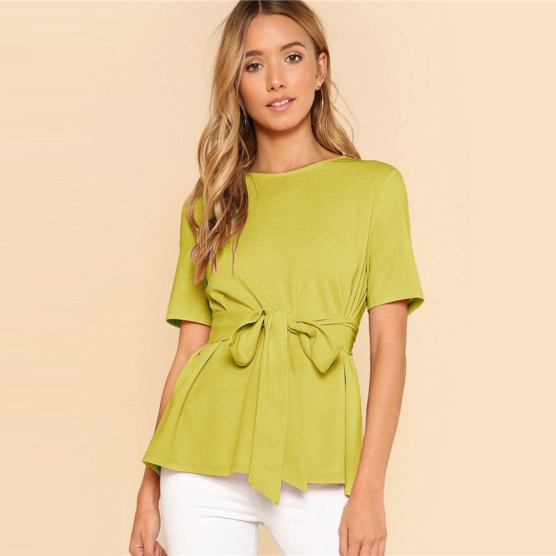 Sheinside Self Belt Keyhole Back Blouse Solid Short Sleeve Top 18 Summer Women Office Ladies Work Elegant Blouse 29