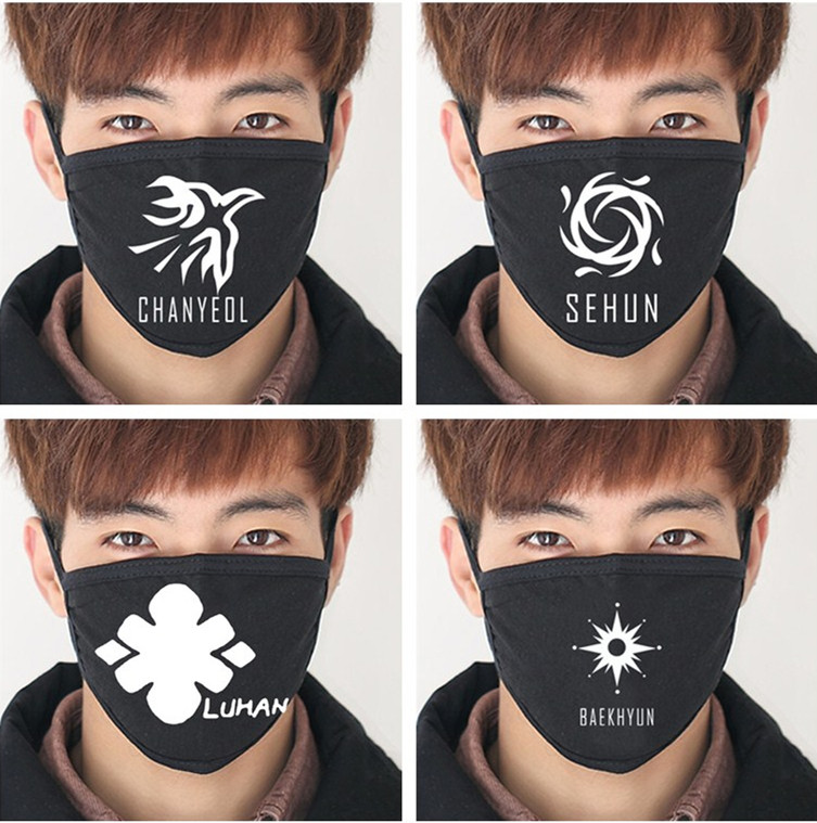 2018 Fashion KPOP EXO Face Mouth Masks K-pop EXO-M EXO-k XOXO Wolf88 Black Models Muffle Muzzle Anti-dust Cotton Mask Respirator
