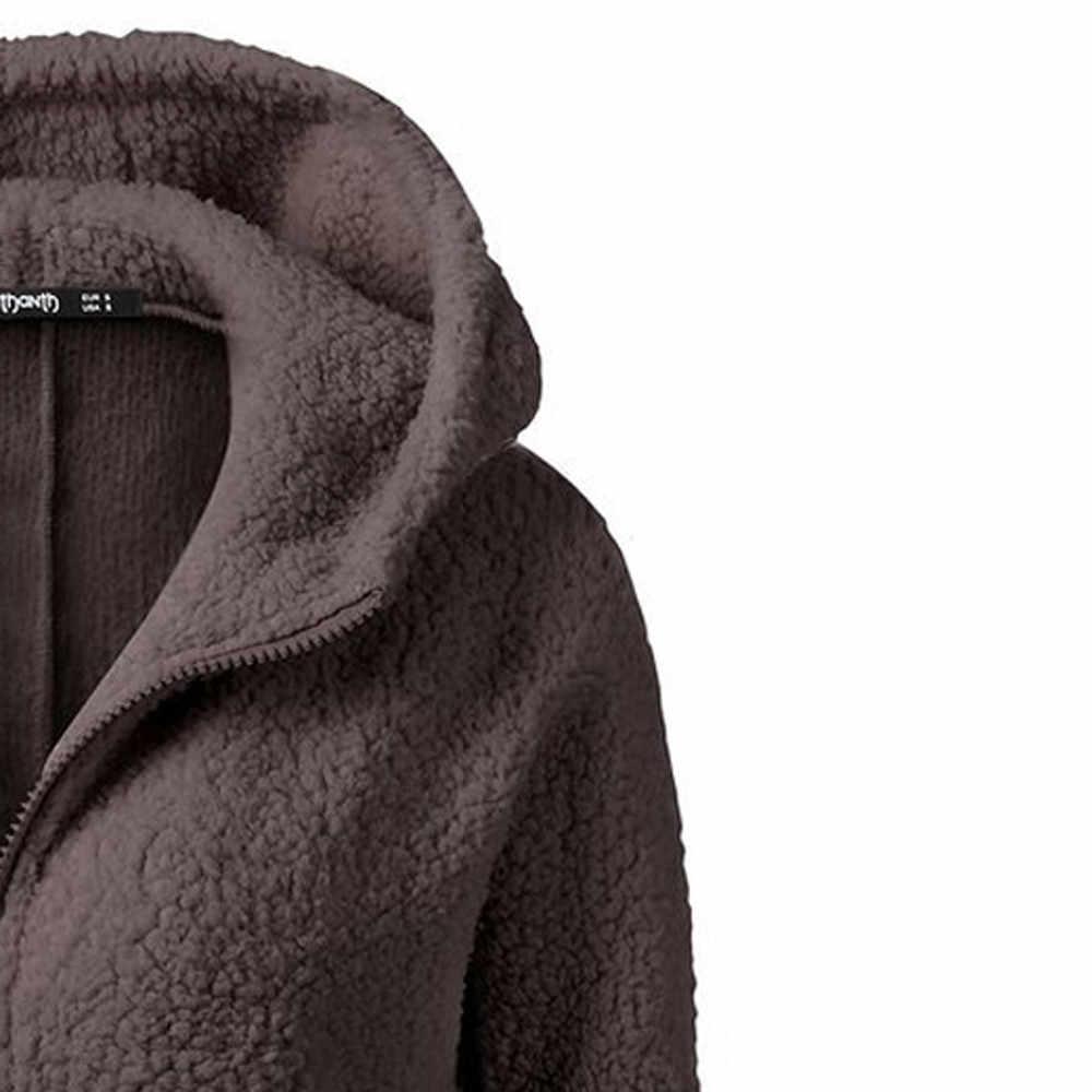 까마귀 스웨터 여성 후드 코트 겨울 따뜻한 양모 지퍼 코튼 코트 아웃웨어 후드 여성