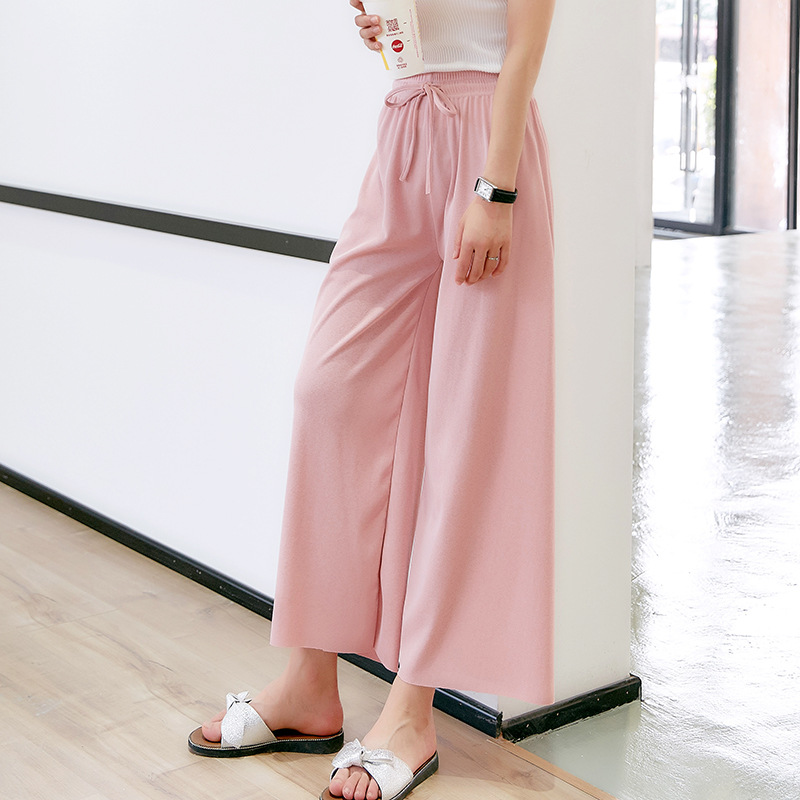 Spring Summer 2018 Women   Pants   Bow Tie Pink Khaki Leisure   Wide     Leg     Pants   Fashion Sweet Loose Girl Ankle Length   Pants   Belt Thin