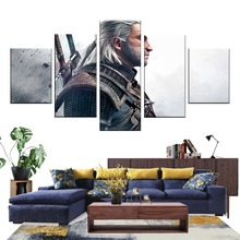 Pop HD Print Geralt of Rivia 5 Pieces Game Poster Character Decorative Picture Home Decor Canvas Painting Art Bedroom