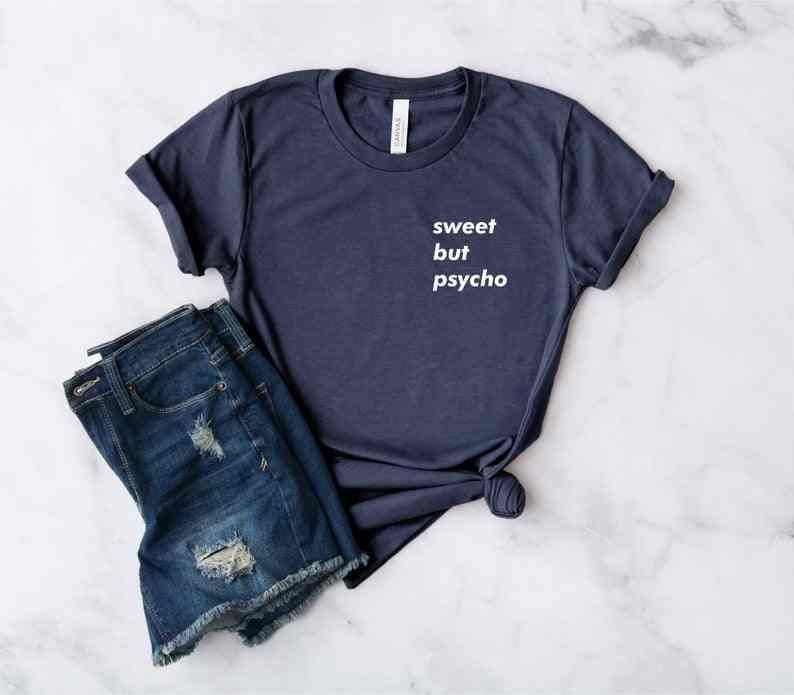 Сладкий but Psycho карманы с принтом Повседневная футболка унисекс летние хлопковые футболки плюс Размеры с круглым вырезом Tumblr футболка Прямая поставка