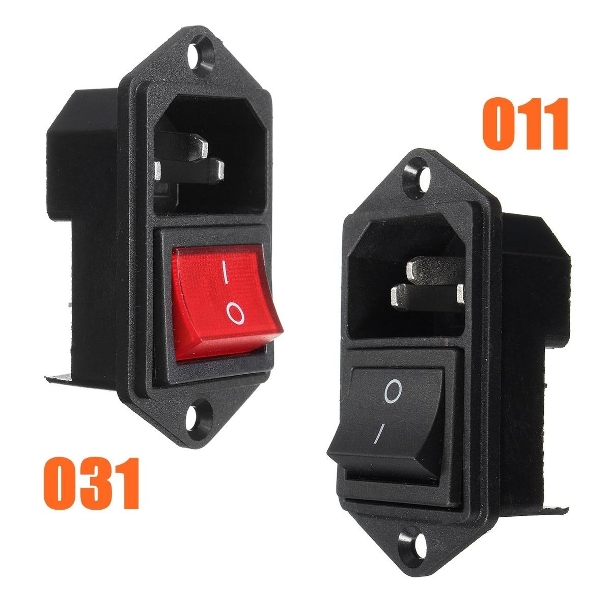 3 Pin IEC320 C14 Inlet Module Plug Fuse w/ Switch Male Power Socket 10A 250V Black/Red 10A 250V AC