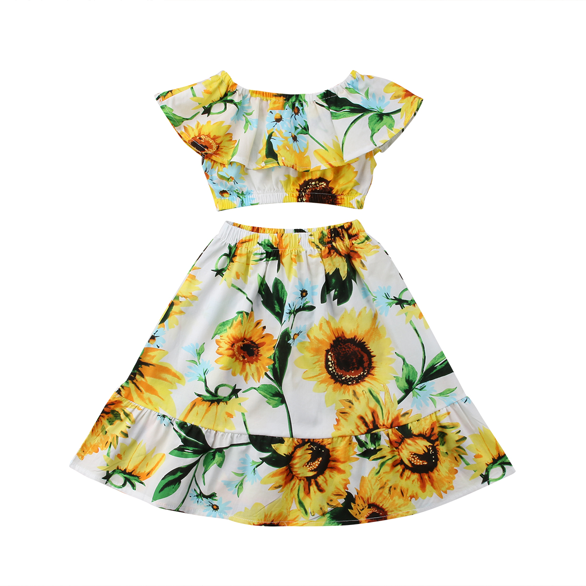 Kids Baby Girls Flower Off Shoulder Crop Tops Skirts Outfits Sunflower Print Summer Ruffles Clothes Set 2-7Y