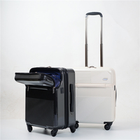 BeaSumore Creative Flip cover USB Rolling Luggage Spinner Women Trolley Cabin Suitcase Wheels Hardside Travel bag Password Trunk