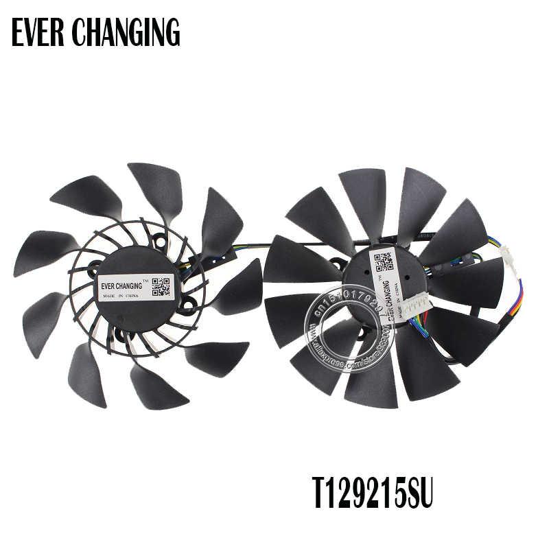 95MM המקורי T129215SU DC 12V 0.5A עבור ASUS GTX760 780 780TI R9 280 290 R9 280X 290X R9 390 390X GTX970 VGA כרטיס קירור מאוורר