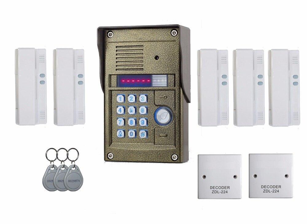 Audio Türsprechanlage Für Wohnung Gewidmet Zhudele 327r 5 Benutzer Apartment Intercom Audio Gegensprechanlage Einfache Und Einfach Zu Installieren Mild And Mellow Oudoor Panel