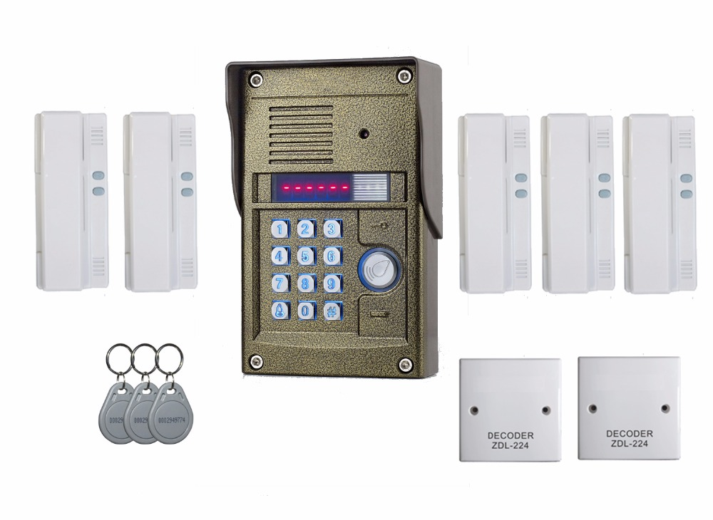 ZHUDELE 327R 5 users apartment intercom+oudoor panel, audio intercom, audio door phone for apartment, simple and easy to install
