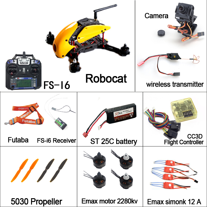 Rc Quadcopter DIY Robocat Drone with camera 270mm FS I6 transmitter Emax Brushless Motor Simonk Esc CC3D Flight Controller diy qav250 mini quadcopter rc drone radiolink at9 transmitter cc3d flight controller emax 1806 motor simonk esc drones