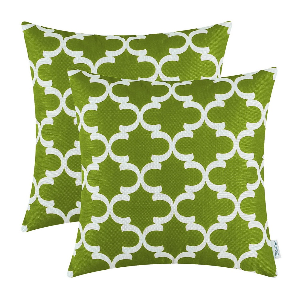popular green accent pillowsbuy cheap green accent pillows lots  - pcs calitime olive green cushion cover pillows shell quatrefoil accentgeometric home sofa decor bedding
