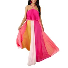Women Sexy Halter Neck Midi Dress Casual Off Shoulder Bohemian Chiffon Sleeveless Pleated