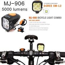 Magicshine MJ 906 MJ906 자전거 라이트 콤보 MTB 도로 사이클링 헤드 램프 고휘도 미등 조합 5000 루멘 USB 충전