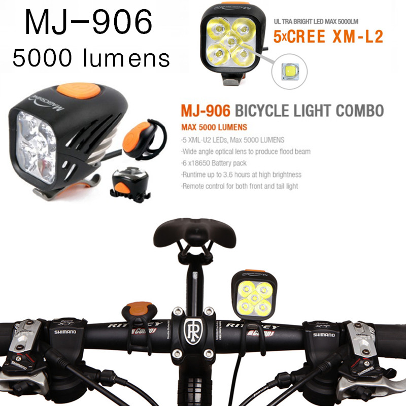 magician MJ-906 MJ906 Bike Light Combo MTB Road Cycling Headlamp High-Bright Taillight Combination 5000 lumens USB charging