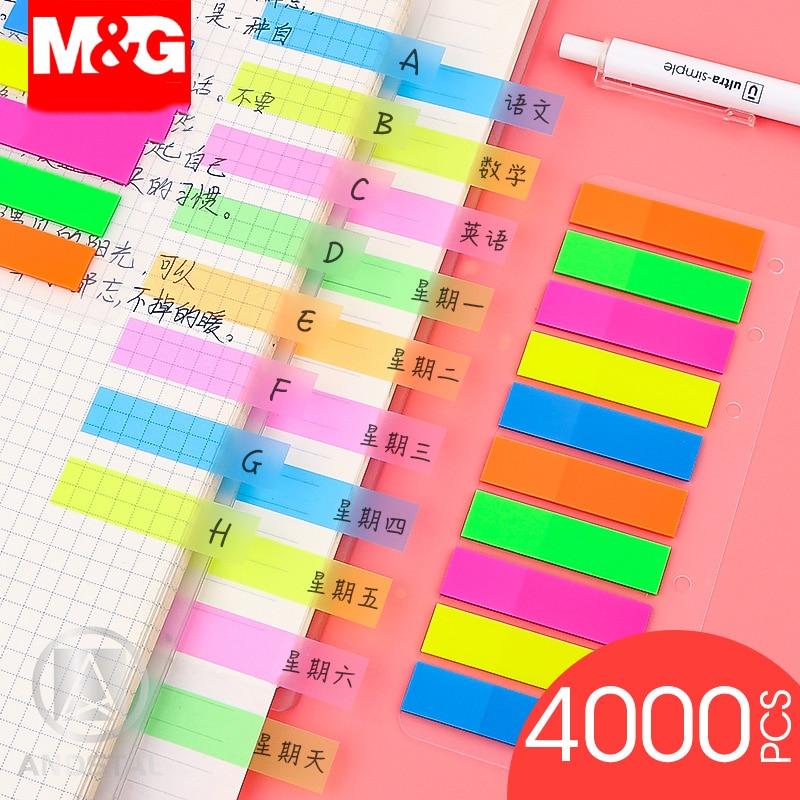 M & G-étiquettes autocollantes en plastique, 4000 pièces, Notes autocollantes, drapeau Andstal, étiquette Index, bloc-Notes, signet planificateur