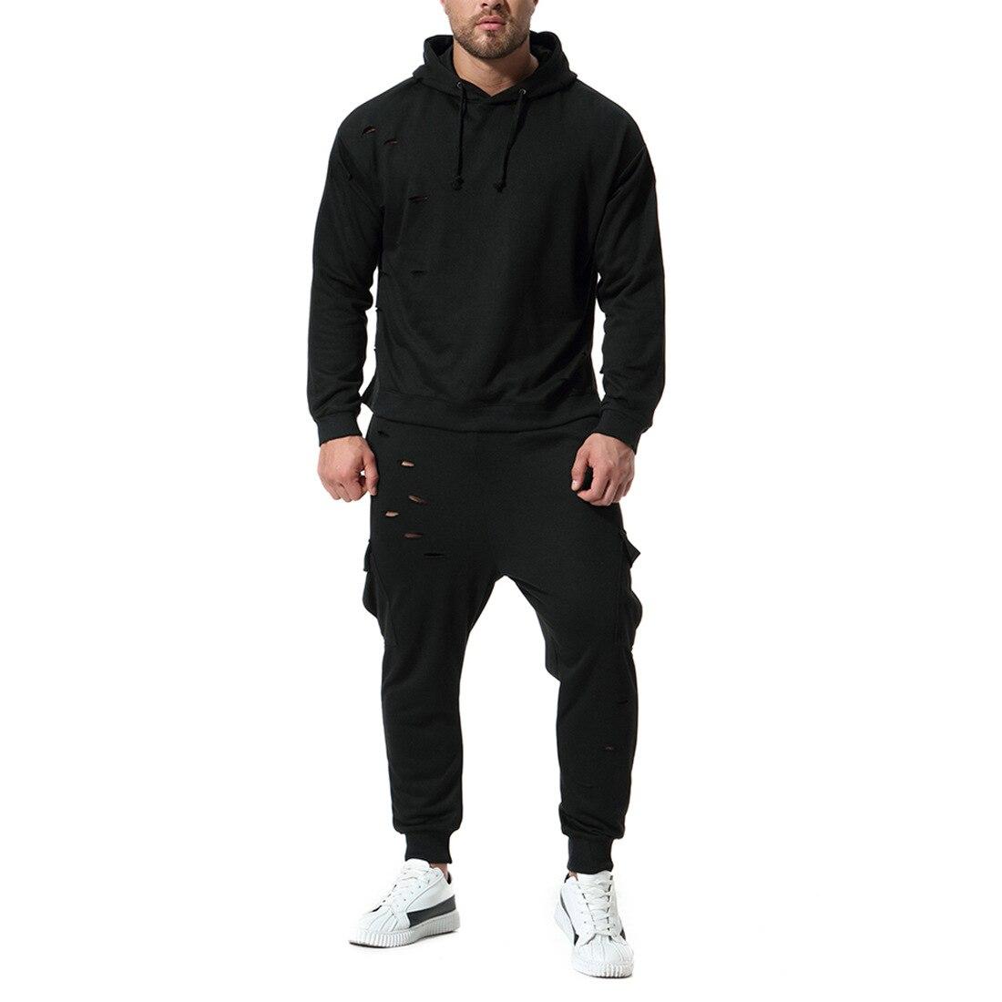 2018 hommes mode Punk deux pièces ensemble hommes Hoodies et Sweatshirts déchiré à capuche longue sweat à capuche et manches longues et pantalon Hip Hop costume masculin