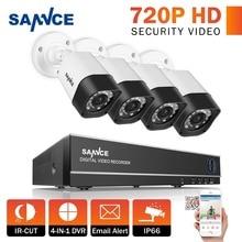 SANNCE 1080N 8-КАНАЛЬНЫЙ ВИДЕОНАБЛЮДЕНИЯ Камеры Системы AHD-H 720 P 1280TVL 8 каналов DVR 4 шт. 1.0MP Камеры Безопасности Дома Видео Комплекты видеонаблюдения