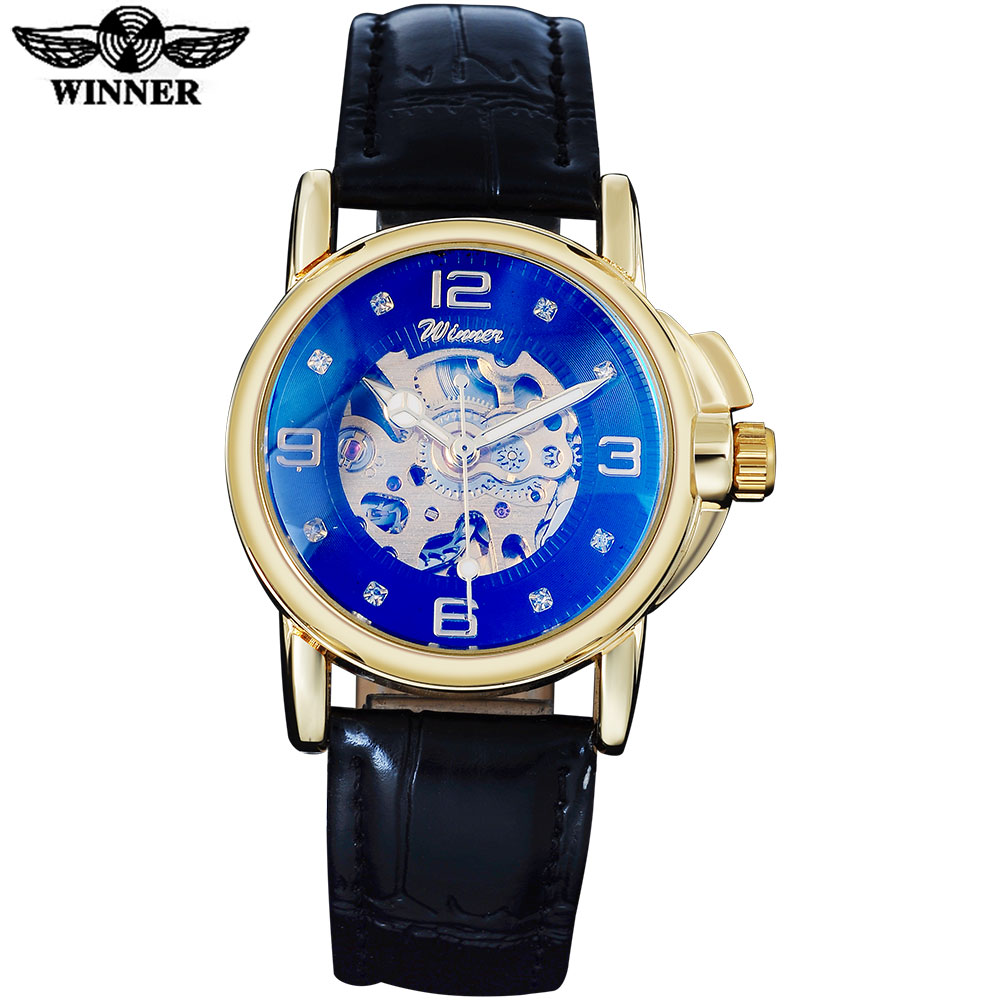 2016 WINNER famous brand women watches fashion automatic self wind watch skeleton dial transparent glass gold case leather band winner brand luxury gold steel case watch women brown leather band rhinestone dial skeleton automatic mechanical wrist watches