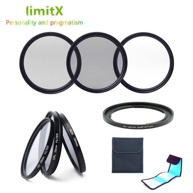 ملحقات UV CPL ND4 عدسة ترشيح ومحول حافظة الخاتم لكاميرا كانون باورشوت SX540 SX530 SX520 SX50 SX40 SX30 SX20 HS