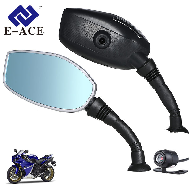 E ACE Motorcycle Camera DVR Dash Cam Motorbike Rearview Mirror Digital Video Recorder Dual Lens With