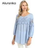 Ailunsnika 2018 Fashion Plus Size Women Clothing Long Sleeve Lace Tops Casual Chiffon Blouse Autumn Winter