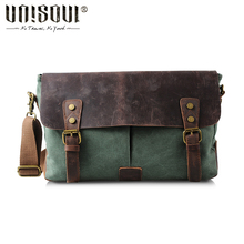 UNISOUL Messenger Bag man canvas leather Vintage men's bags 2016 Satchels high quality Casual Briefcases Crossbody Bag