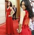 Модный Красный Ковер Платья Знаменитостей Sheer See Through Цветы Красные Длинные Вечерние Платья Плюс Размер Платья Женщин Для Партии
