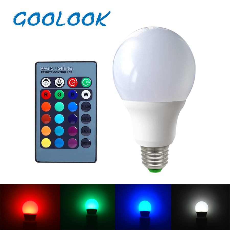 E27 RGB LED Bulb 2W 3W 5W 7W 9W LED Lamp Light Spot Bulb  RGB  24Key IR Remote Control Home Christmas Decoration