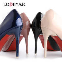 Dames chaussures talons hauts en cuir verni classique pompes Sexy robe de bal de mariage femmes PU bout pointu Beige rouge fonds chaussures