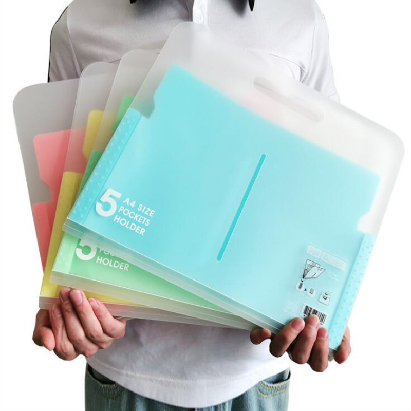 Multi-layer PP 6 Color Folder A4 Student Organ File Plastic Paper Data Bag Filing Products 5 Index Document  Bag