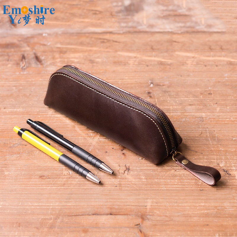 2018 New Arrival Pencil Bag Simple Retro Storage Bag Leather Pencil Bag Manual Sewing Thread Zipper Stationery Pen Box B275 new manual shoe making sewing machine