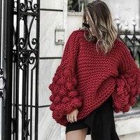 Herbst Grobe wolle handgemachte gestrickte Pullover frauen Hälfte rollkragen faul Grobe wolle Strick Laterne Ärmeln 3D Garn Ball Pullover