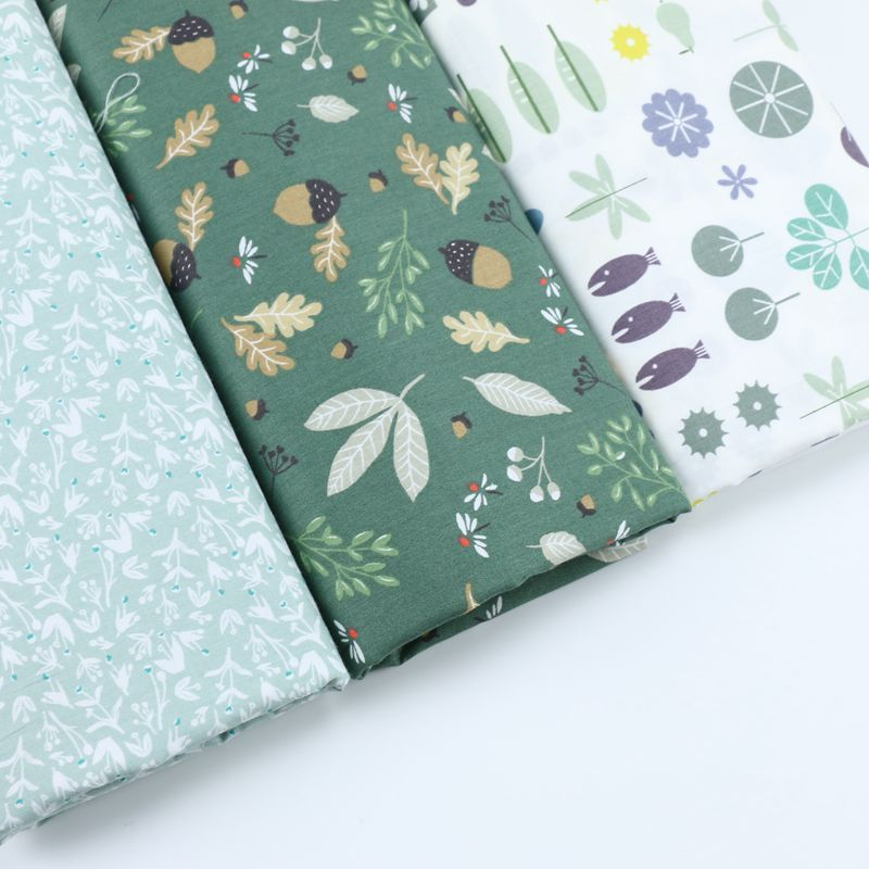 100% cotton twill cloth pastoral green white fruits dragonfly floral flower fabric for D ...