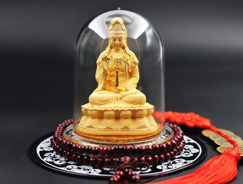 GOOD HOME OFFICE Company SHOP CAR TOP Efficacious GOOD LUCK BLESS FAMILY Gold Gilding GUAN YIN Buddha FENG SHUI ART Statue